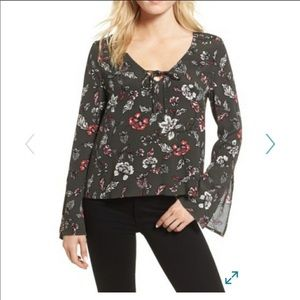 Cupcakes and Cashmere Green Floral Top